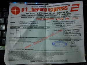 Pengiriman CD ke Jakarta melalui Herona